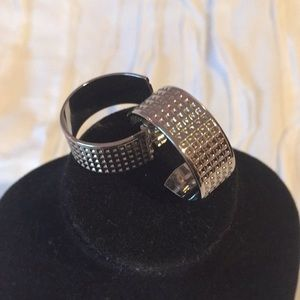 """Silver Mini waffle design 1"""" hoop earrings"""